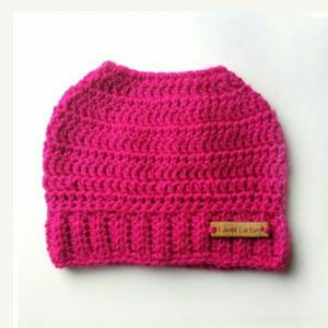 Magenta Messy Bun Hat With Hole on Top